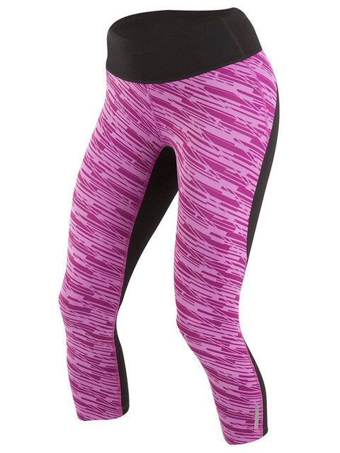 PEARL iZUMi W's Flash 3/4 Shorts Black/Purple Wine Print